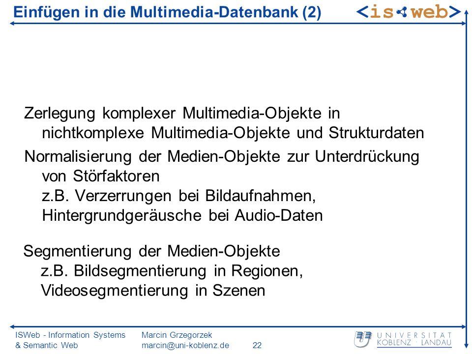 ISWeb - Information Systems & Semantic Web Marcin Grzegorzek marcin@uni-koblenz.de22 Einfügen in die Multimedia-Datenbank (2) Zerlegung komplexer Mult