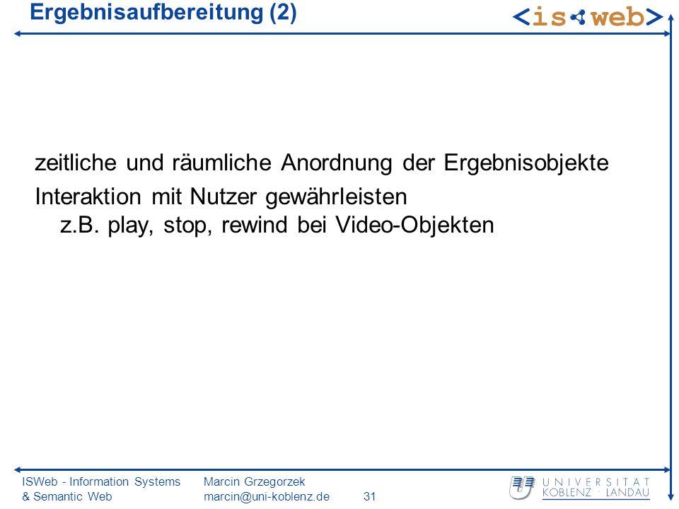 ISWeb - Information Systems & Semantic Web Marcin Grzegorzek marcin@uni-koblenz.de31 Ergebnisaufbereitung (2) zeitliche und räumliche Anordnung der Er