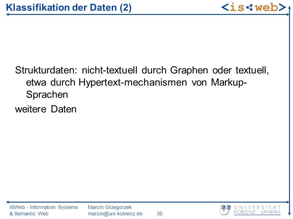 ISWeb - Information Systems & Semantic Web Marcin Grzegorzek marcin@uni-koblenz.de35 Klassifikation der Daten (2) Strukturdaten: nicht-textuell durch