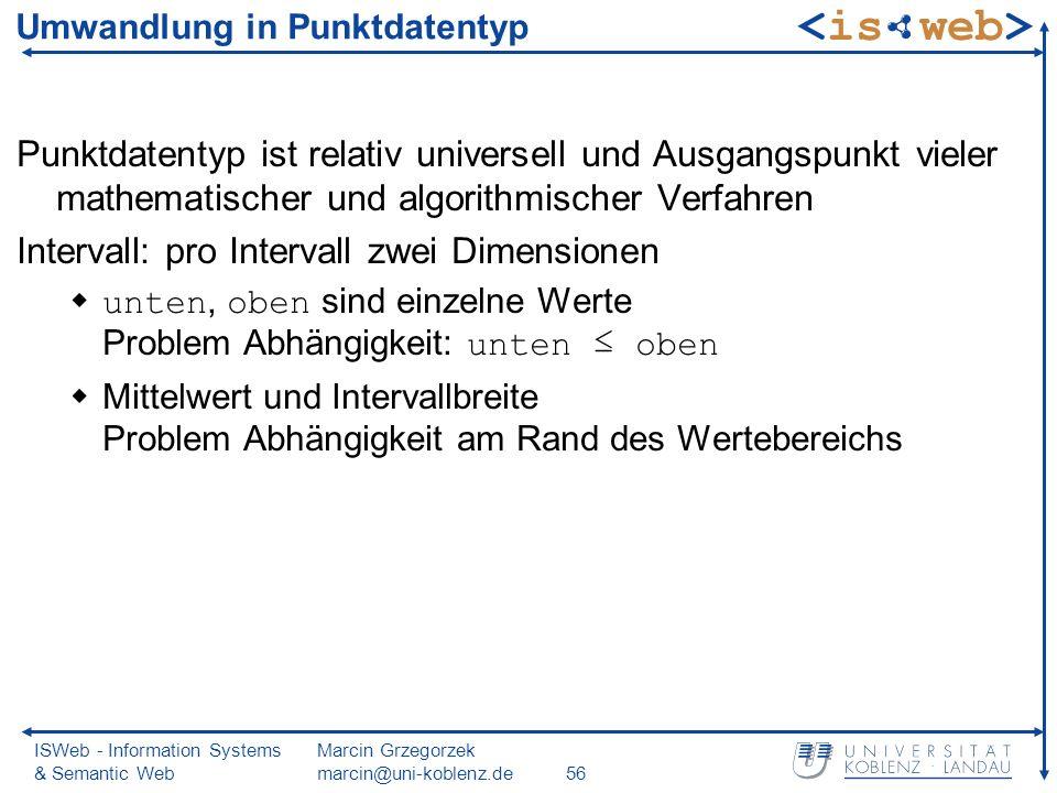 ISWeb - Information Systems & Semantic Web Marcin Grzegorzek marcin@uni-koblenz.de56 Umwandlung in Punktdatentyp Punktdatentyp ist relativ universell