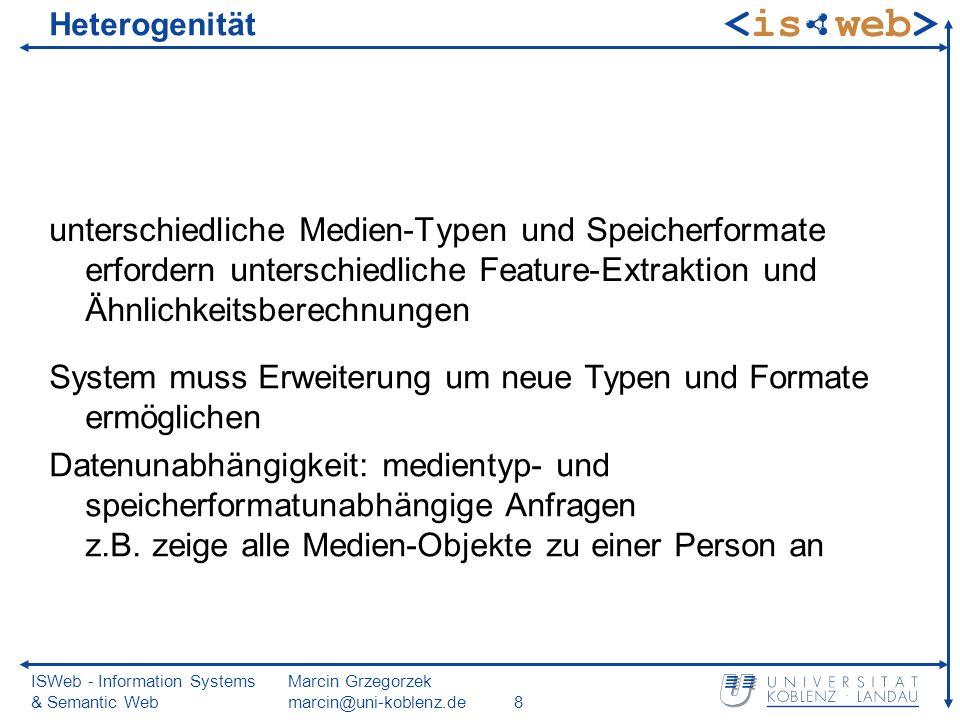 ISWeb - Information Systems & Semantic Web Marcin Grzegorzek marcin@uni-koblenz.de69 Vektorraummodell (2) gute Grundlage zur Ermittlung von Ähnlichkeitswerten viele Distanz- und Ähnlichkeitsfunktionen verfügbar