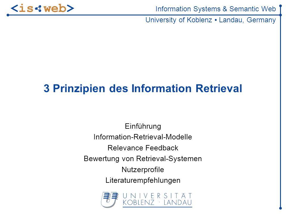 ISWeb - Information Systems & Semantic Web Steffen Staab staab@uni-koblenz.de32 of-Konstrukt Suche nach Dokumenten, die m von n (m<n) Termen enthalten 2 of (Korsika, Stand, Ferienwohnung) ersetzt komplexen Boole schen Ausdruck (Korsika and Strand) or (Korsika and Ferienwohnung) or (Strand and Ferienwohnung)