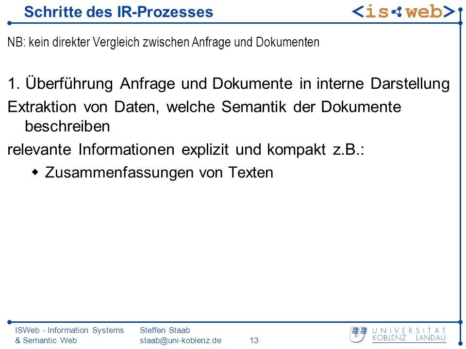 ISWeb - Information Systems & Semantic Web Steffen Staab staab@uni-koblenz.de13 Schritte des IR-Prozesses NB: kein direkter Vergleich zwischen Anfrage
