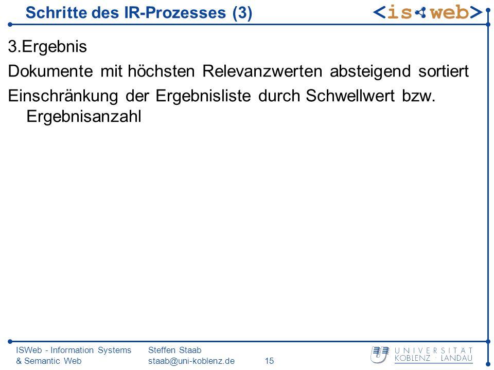 ISWeb - Information Systems & Semantic Web Steffen Staab staab@uni-koblenz.de15 Schritte des IR-Prozesses (3) 3.Ergebnis Dokumente mit höchsten Releva
