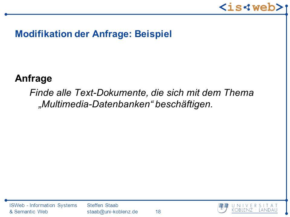 ISWeb - Information Systems & Semantic Web Steffen Staab staab@uni-koblenz.de18 Modifikation der Anfrage: Beispiel Anfrage Finde alle Text-Dokumente,