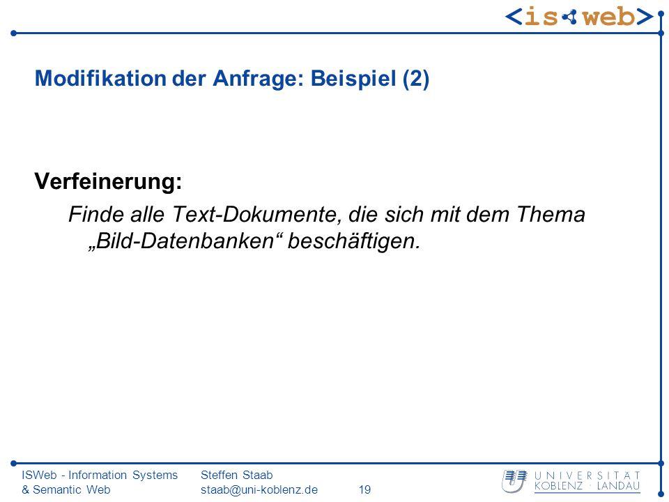 ISWeb - Information Systems & Semantic Web Steffen Staab staab@uni-koblenz.de19 Modifikation der Anfrage: Beispiel (2) Verfeinerung: Finde alle Text-D