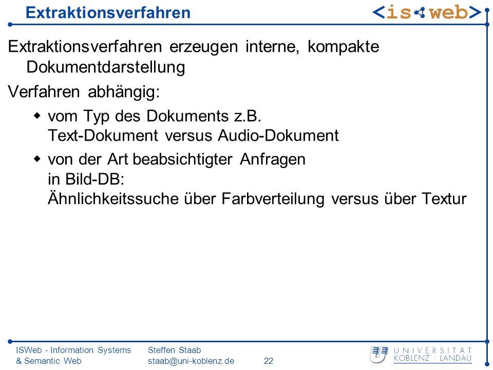 ISWeb - Information Systems & Semantic Web Steffen Staab staab@uni-koblenz.de22 Extraktionsverfahren Extraktionsverfahren erzeugen interne, kompakte D