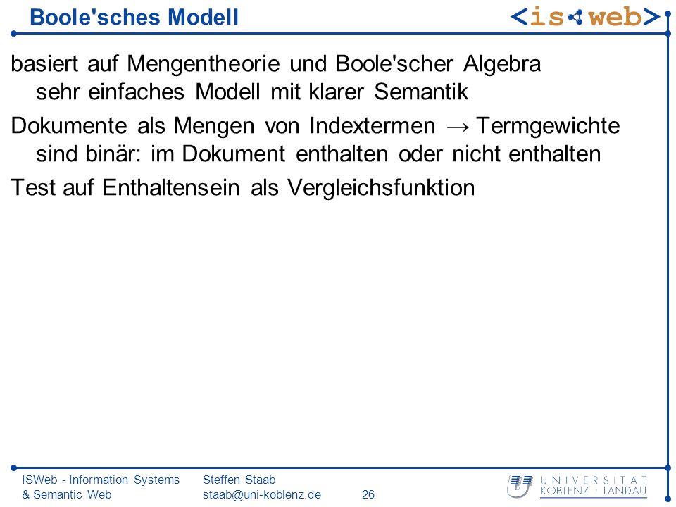 ISWeb - Information Systems & Semantic Web Steffen Staab staab@uni-koblenz.de26 Boole'sches Modell basiert auf Mengentheorie und Boole'scher Algebra s