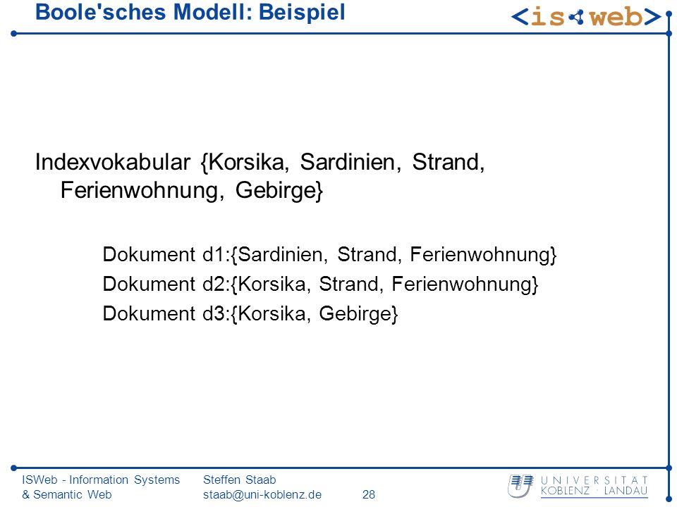 ISWeb - Information Systems & Semantic Web Steffen Staab staab@uni-koblenz.de28 Boole'sches Modell: Beispiel Indexvokabular {Korsika, Sardinien, Stran