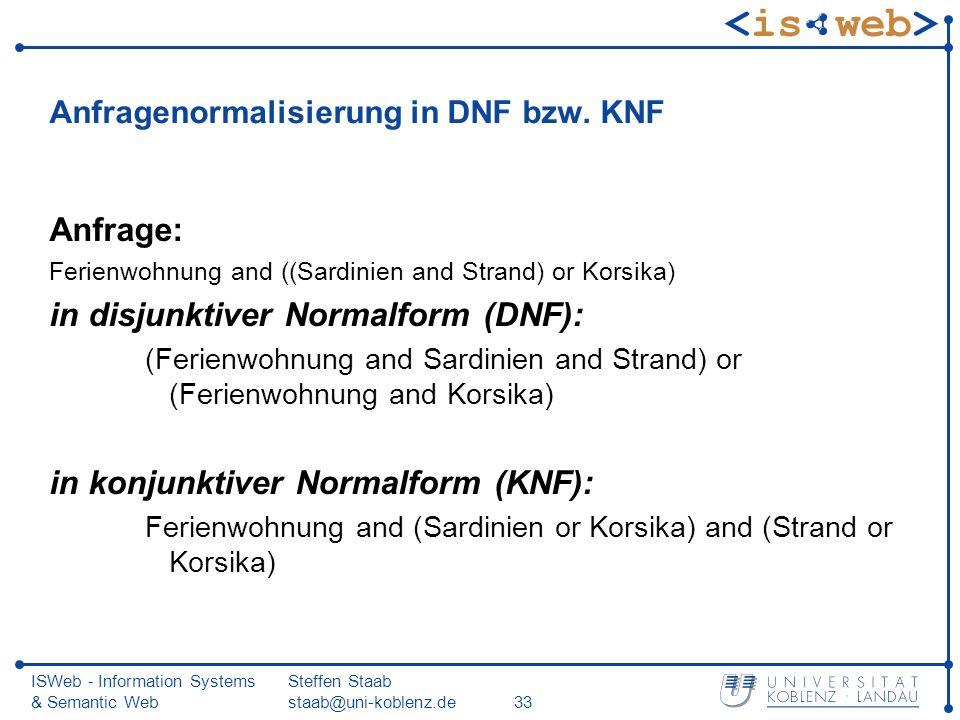 ISWeb - Information Systems & Semantic Web Steffen Staab staab@uni-koblenz.de33 Anfragenormalisierung in DNF bzw. KNF Anfrage: Ferienwohnung and ((Sar