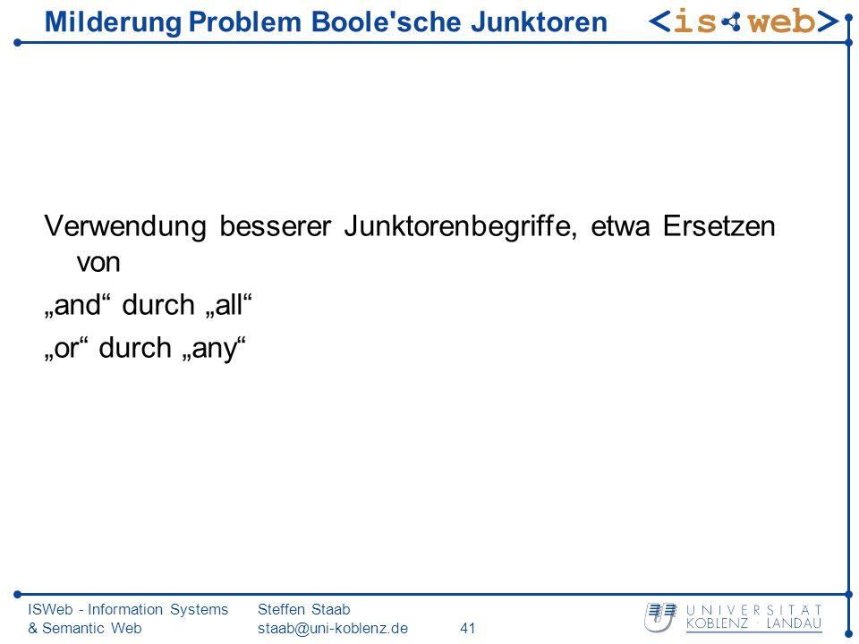 ISWeb - Information Systems & Semantic Web Steffen Staab staab@uni-koblenz.de41 Milderung Problem Boole'sche Junktoren Verwendung besserer Junktorenbe