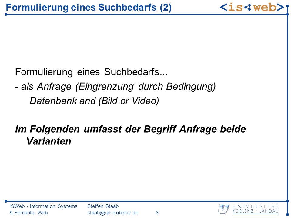 ISWeb - Information Systems & Semantic Web Steffen Staab staab@uni-koblenz.de19 Modifikation der Anfrage: Beispiel (2) Verfeinerung: Finde alle Text-Dokumente, die sich mit dem Thema Bild-Datenbanken beschäftigen.