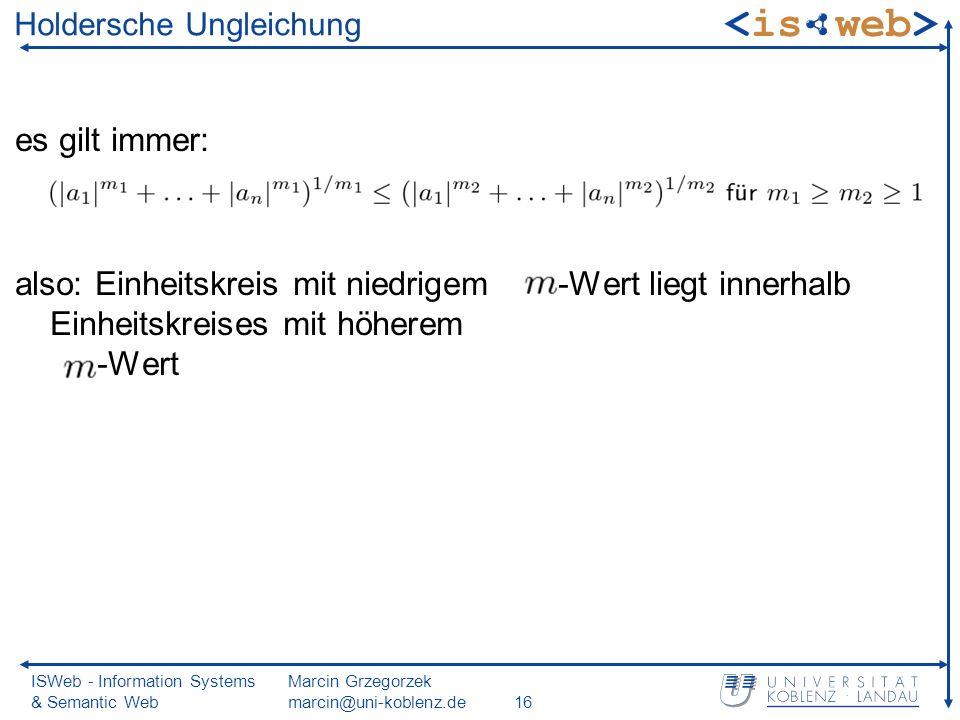 ISWeb - Information Systems & Semantic Web Marcin Grzegorzek marcin@uni-koblenz.de16 Holdersche Ungleichung es gilt immer: also: Einheitskreis mit niedrigem -Wert liegt innerhalb Einheitskreises mit höherem -Wert