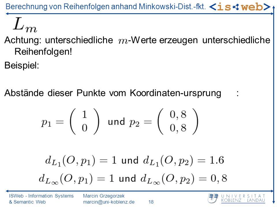 ISWeb - Information Systems & Semantic Web Marcin Grzegorzek marcin@uni-koblenz.de18 Berechnung von Reihenfolgen anhand Minkowski-Dist.-fkt. Achtung: