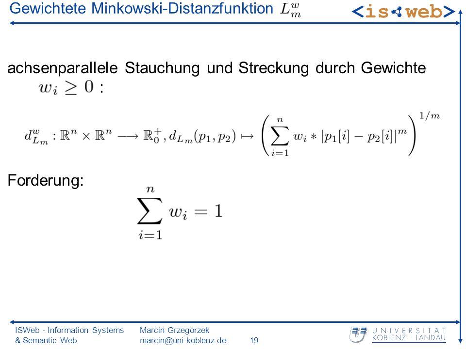 ISWeb - Information Systems & Semantic Web Marcin Grzegorzek marcin@uni-koblenz.de19 Gewichtete Minkowski-Distanzfunktion achsenparallele Stauchung un