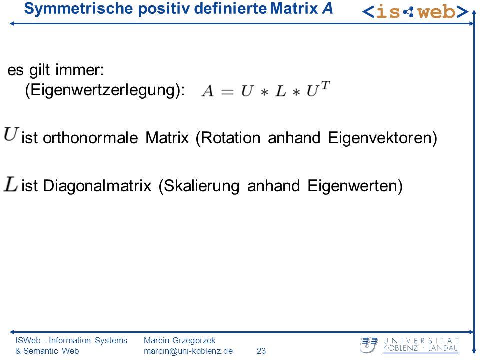 ISWeb - Information Systems & Semantic Web Marcin Grzegorzek marcin@uni-koblenz.de23 Symmetrische positiv definierte Matrix A es gilt immer: (Eigenwertzerlegung): ist orthonormale Matrix (Rotation anhand Eigenvektoren) ist Diagonalmatrix (Skalierung anhand Eigenwerten)
