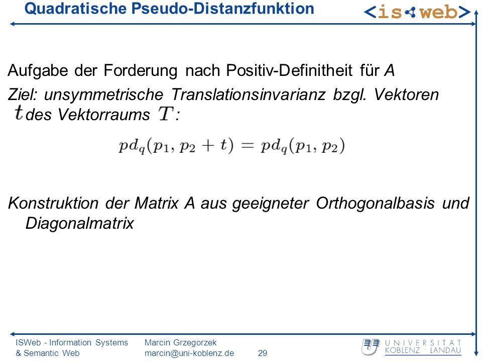 ISWeb - Information Systems & Semantic Web Marcin Grzegorzek marcin@uni-koblenz.de29 Quadratische Pseudo-Distanzfunktion Aufgabe der Forderung nach Po