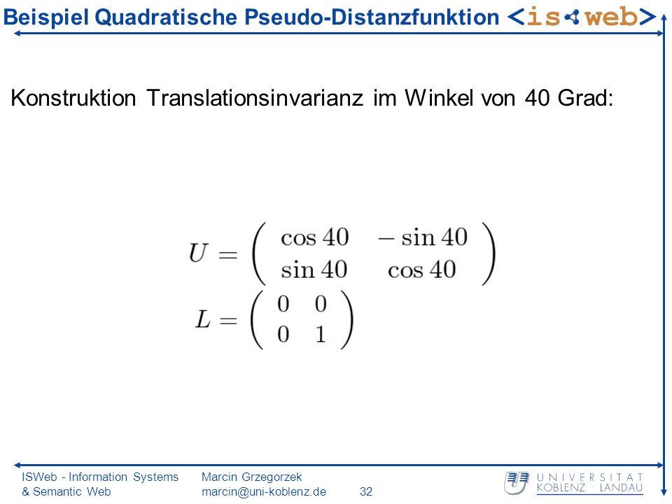 ISWeb - Information Systems & Semantic Web Marcin Grzegorzek marcin@uni-koblenz.de32 Beispiel Quadratische Pseudo-Distanzfunktion Konstruktion Translationsinvarianz im Winkel von 40 Grad: