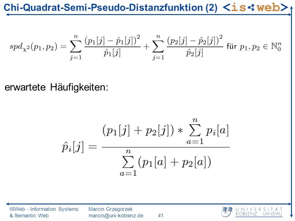 ISWeb - Information Systems & Semantic Web Marcin Grzegorzek marcin@uni-koblenz.de41 Chi-Quadrat-Semi-Pseudo-Distanzfunktion (2) erwartete Häufigkeiten:
