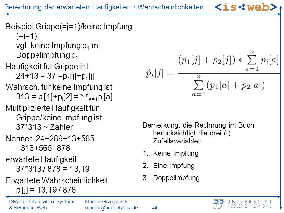 ISWeb - Information Systems & Semantic Web Marcin Grzegorzek marcin@uni-koblenz.de44 Berechnung der erwarteten Häufigkeiten / Wahrscheinlichkeiten Beispiel Grippe(=j=1)/keine Impfung (=i=1); vgl.