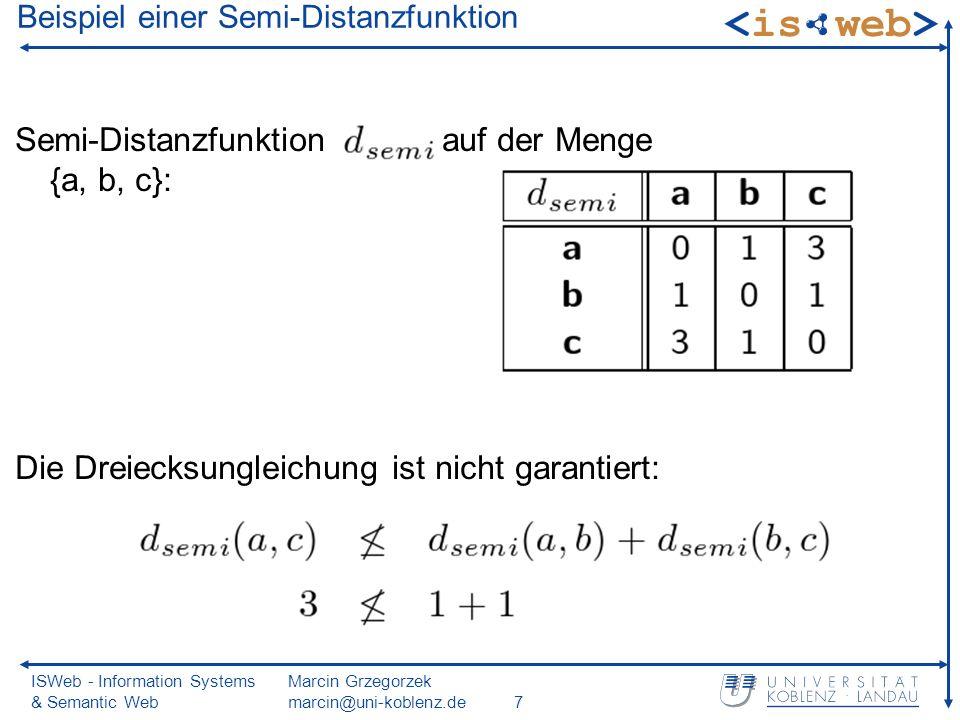 ISWeb - Information Systems & Semantic Web Marcin Grzegorzek marcin@uni-koblenz.de7 Beispiel einer Semi-Distanzfunktion Semi-Distanzfunktion auf der Menge {a, b, c}: Die Dreiecksungleichung ist nicht garantiert: