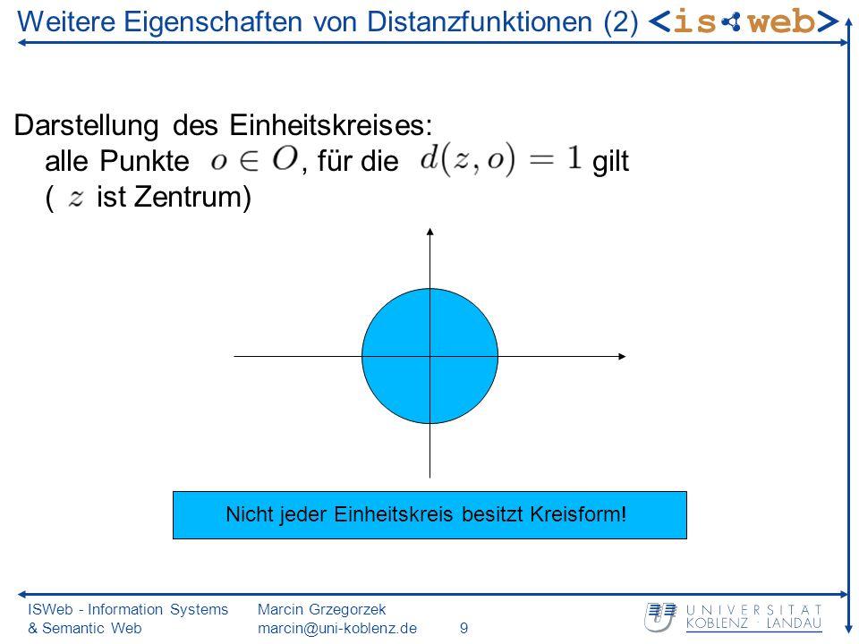 ISWeb - Information Systems & Semantic Web Marcin Grzegorzek marcin@uni-koblenz.de9 Darstellung des Einheitskreises: alle Punkte, für die gilt ( ist Zentrum) Weitere Eigenschaften von Distanzfunktionen (2) Nicht jeder Einheitskreis besitzt Kreisform!