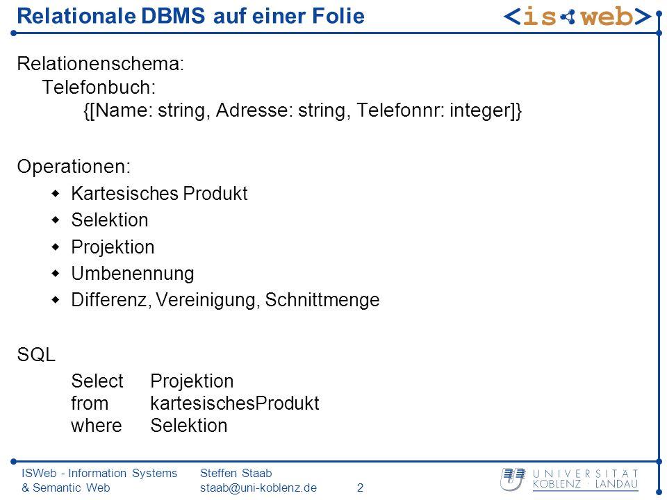ISWeb - Information Systems & Semantic Web Steffen Staab staab@uni-koblenz.de2 Relationale DBMS auf einer Folie Relationenschema: Telefonbuch: {[Name: string, Adresse: string, Telefonnr: integer]} Operationen: Kartesisches Produkt Selektion Projektion Umbenennung Differenz, Vereinigung, Schnittmenge SQL Select Projektion fromkartesischesProdukt whereSelektion