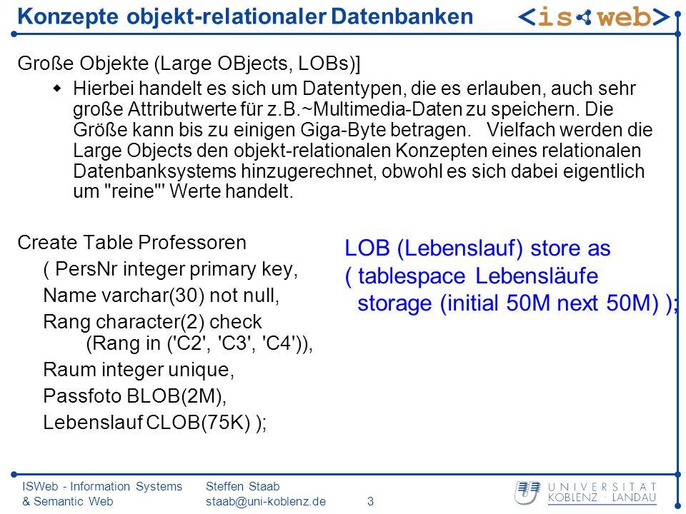 ISWeb - Information Systems & Semantic Web Steffen Staab staab@uni-koblenz.de3 Konzepte objekt-relationaler Datenbanken Große Objekte (Large OBjects, LOBs)] Hierbei handelt es sich um Datentypen, die es erlauben, auch sehr große Attributwerte für z.B.~Multimedia-Daten zu speichern.