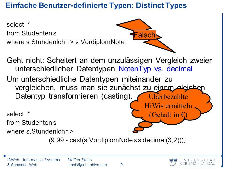 ISWeb - Information Systems & Semantic Web Steffen Staab staab@uni-koblenz.de9 Einfache Benutzer-definierte Typen: Distinct Types select * from Studenten s where s.Stundenlohn > s.VordiplomNote; Geht nicht: Scheitert an dem unzulässigen Vergleich zweier unterschiedlicher Datentypen NotenTyp vs.