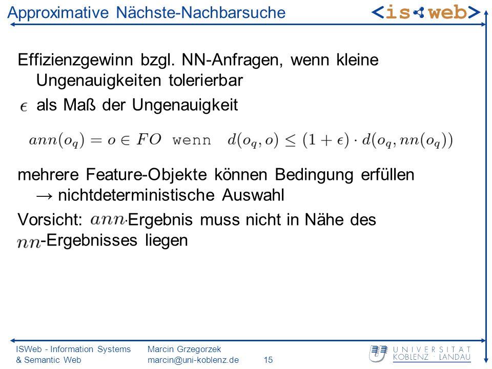 ISWeb - Information Systems & Semantic Web Marcin Grzegorzek marcin@uni-koblenz.de15 Approximative Nächste-Nachbarsuche Effizienzgewinn bzgl.
