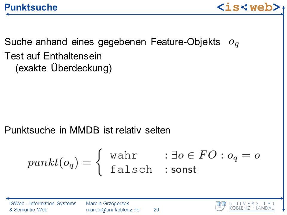 ISWeb - Information Systems & Semantic Web Marcin Grzegorzek marcin@uni-koblenz.de20 Punktsuche Suche anhand eines gegebenen Feature-Objekts Test auf Enthaltensein (exakte Überdeckung) Punktsuche in MMDB ist relativ selten