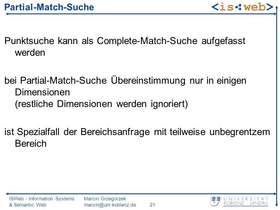ISWeb - Information Systems & Semantic Web Marcin Grzegorzek marcin@uni-koblenz.de21 Partial-Match-Suche Punktsuche kann als Complete-Match-Suche aufgefasst werden bei Partial-Match-Suche Übereinstimmung nur in einigen Dimensionen (restliche Dimensionen werden ignoriert) ist Spezialfall der Bereichsanfrage mit teilweise unbegrentzem Bereich