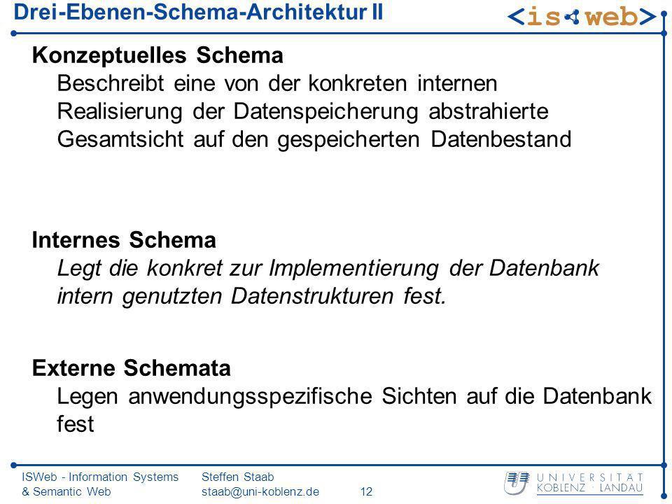 ISWeb - Information Systems & Semantic Web Steffen Staab staab@uni-koblenz.de12 Drei-Ebenen-Schema-Architektur II Konzeptuelles Schema Beschreibt eine