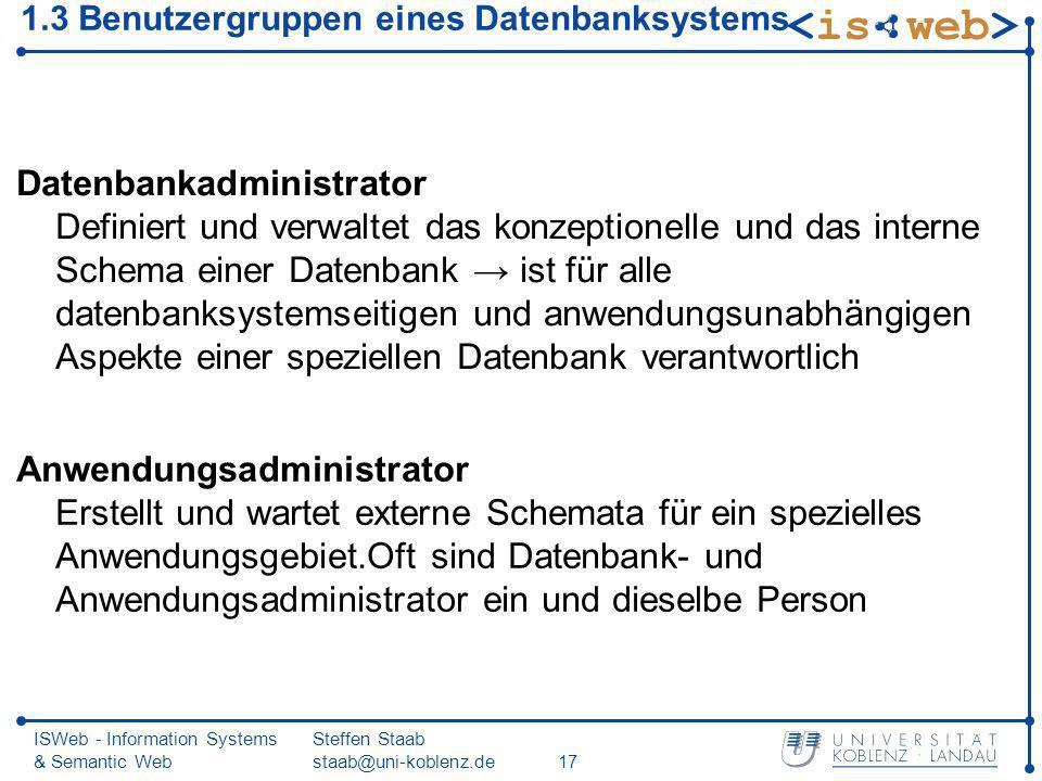 ISWeb - Information Systems & Semantic Web Steffen Staab staab@uni-koblenz.de17 1.3 Benutzergruppen eines Datenbanksystems Datenbankadministrator Defi