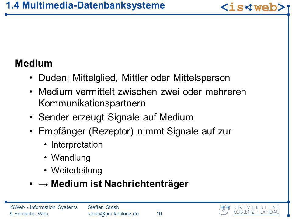 ISWeb - Information Systems & Semantic Web Steffen Staab staab@uni-koblenz.de19 1.4 Multimedia-Datenbanksysteme Medium Duden: Mittelglied, Mittler ode