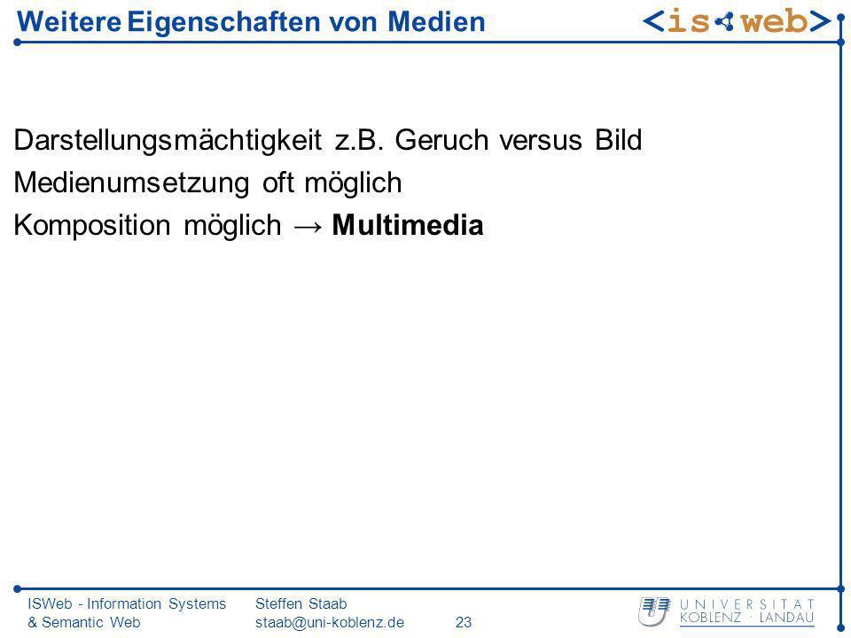 ISWeb - Information Systems & Semantic Web Steffen Staab staab@uni-koblenz.de23 Weitere Eigenschaften von Medien Darstellungsmächtigkeit z.B. Geruch v