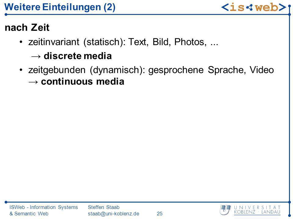 ISWeb - Information Systems & Semantic Web Steffen Staab staab@uni-koblenz.de25 Weitere Einteilungen (2) nach Zeit zeitinvariant (statisch): Text, Bil