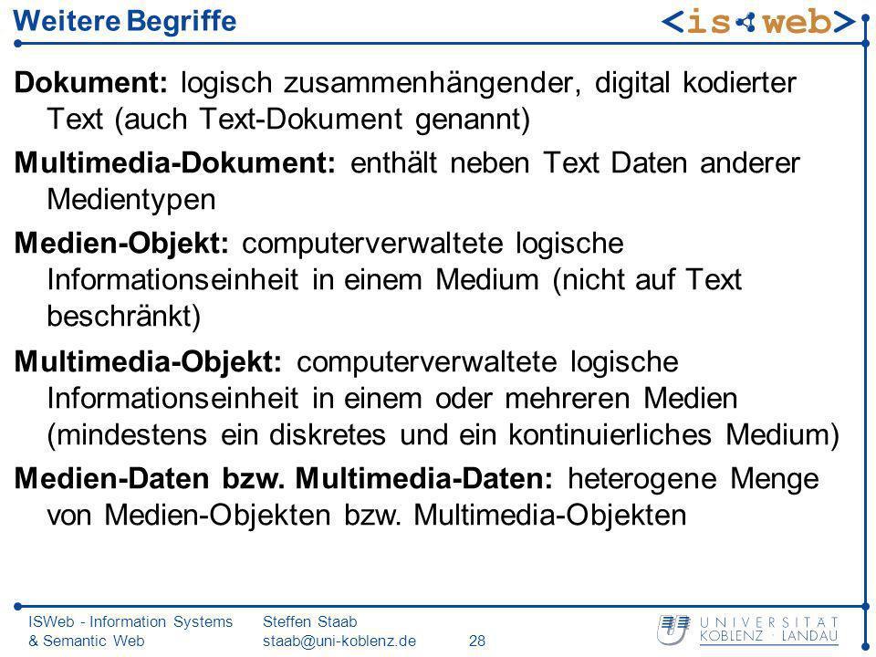 ISWeb - Information Systems & Semantic Web Steffen Staab staab@uni-koblenz.de28 Weitere Begriffe Dokument: logisch zusammenhängender, digital kodierte