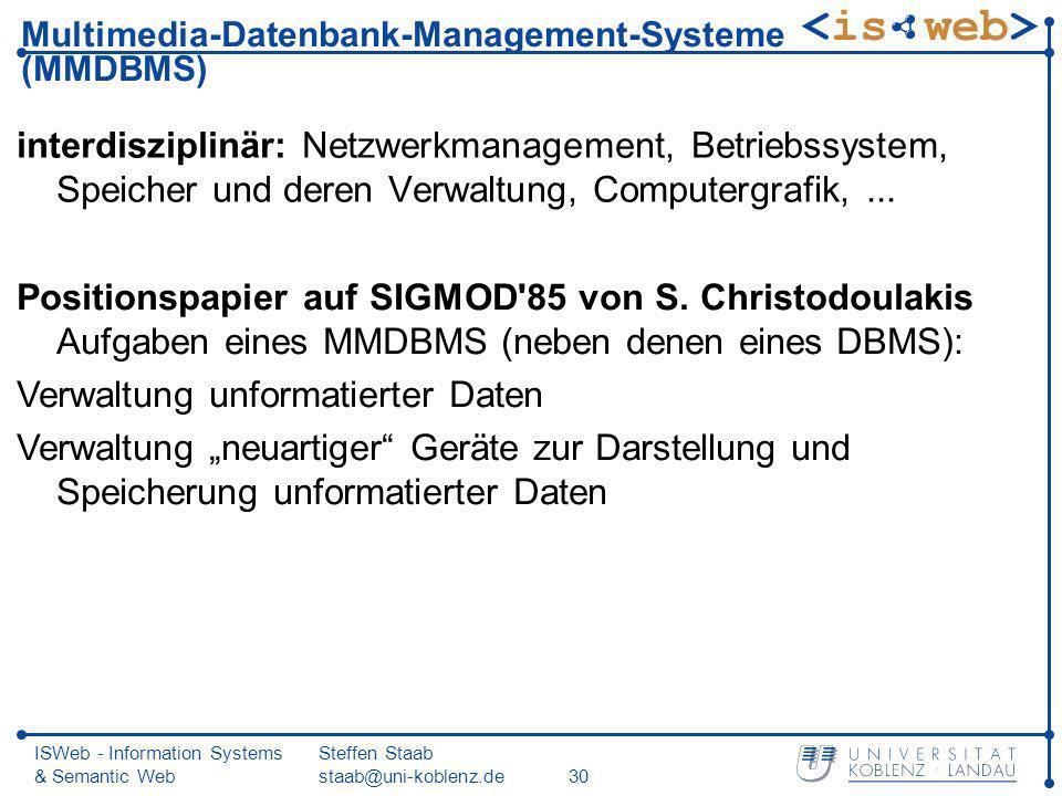 ISWeb - Information Systems & Semantic Web Steffen Staab staab@uni-koblenz.de30 Multimedia-Datenbank-Management-Systeme (MMDBMS) interdisziplinär: Net