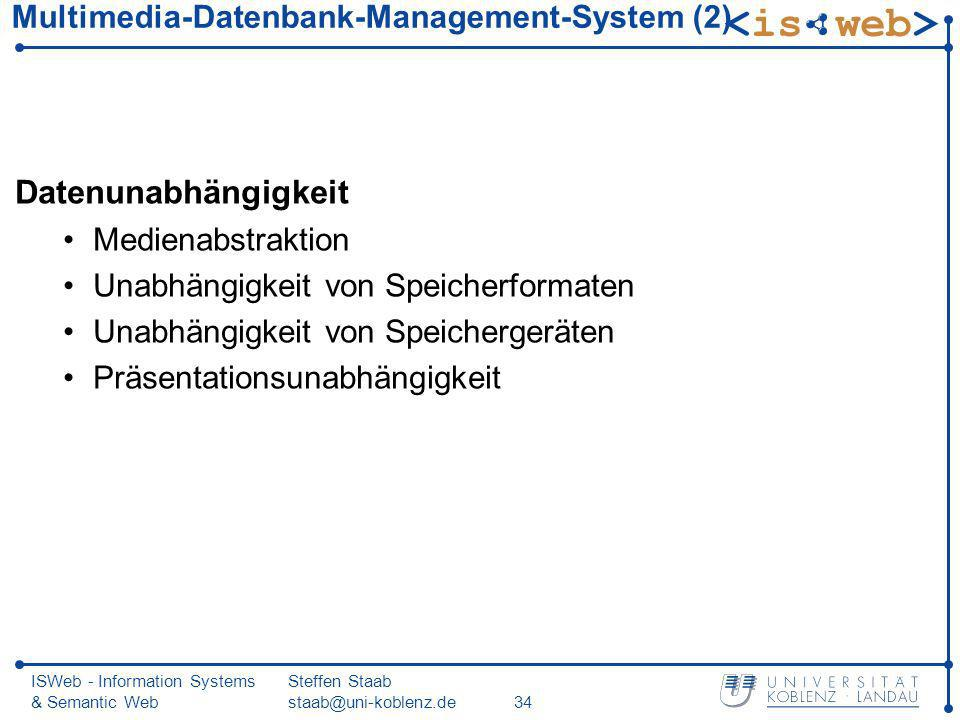 ISWeb - Information Systems & Semantic Web Steffen Staab staab@uni-koblenz.de34 Multimedia-Datenbank-Management-System (2) Datenunabhängigkeit Mediena