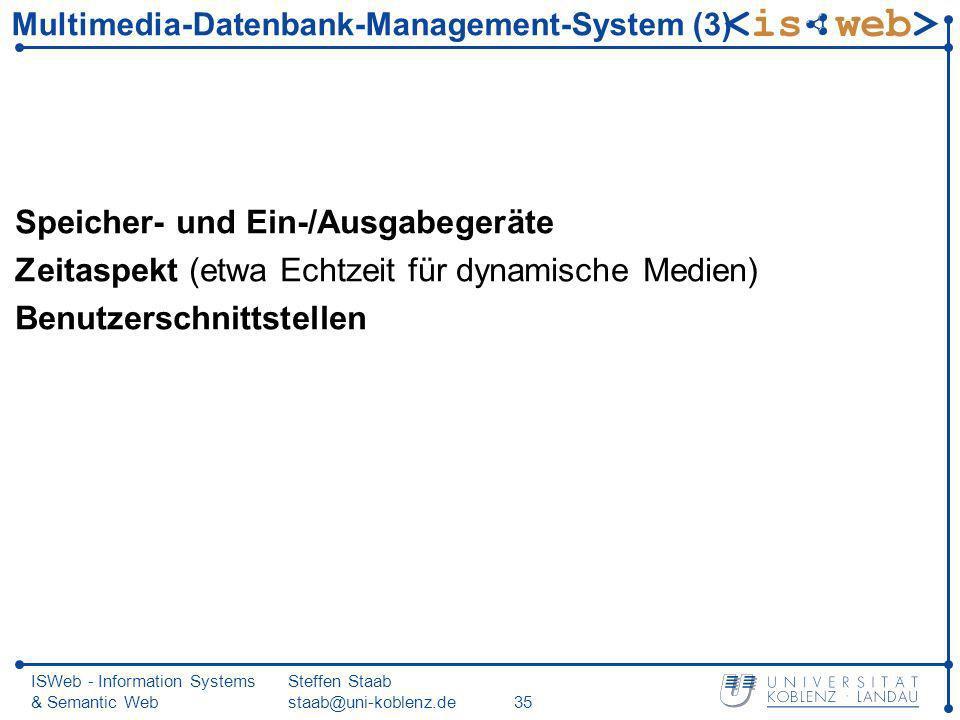 ISWeb - Information Systems & Semantic Web Steffen Staab staab@uni-koblenz.de35 Multimedia-Datenbank-Management-System (3) Speicher- und Ein-/Ausgabeg