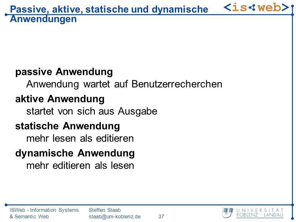 ISWeb - Information Systems & Semantic Web Steffen Staab staab@uni-koblenz.de37 Passive, aktive, statische und dynamische Anwendungen passive Anwendun