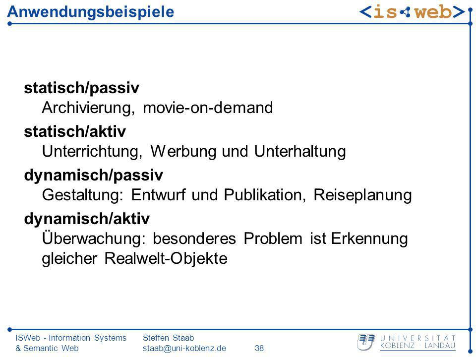 ISWeb - Information Systems & Semantic Web Steffen Staab staab@uni-koblenz.de38 Anwendungsbeispiele statisch/passiv Archivierung, movie-on-demand stat