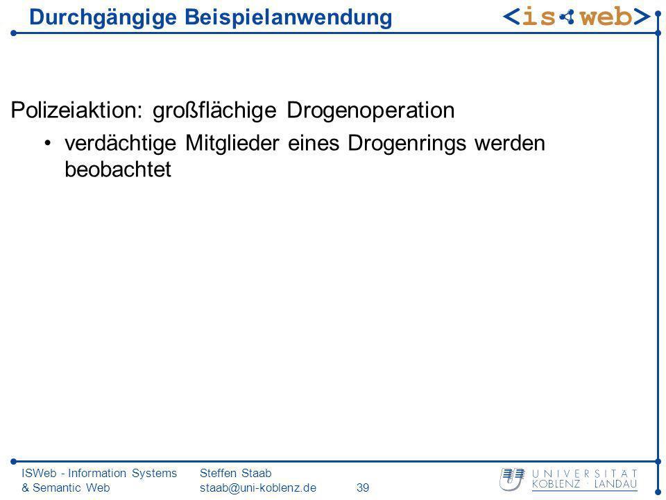 ISWeb - Information Systems & Semantic Web Steffen Staab staab@uni-koblenz.de39 Durchgängige Beispielanwendung Polizeiaktion: großflächige Drogenopera
