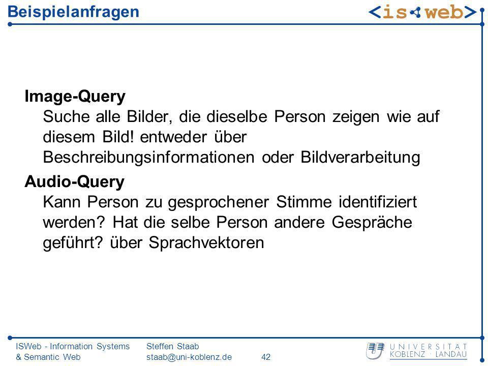 ISWeb - Information Systems & Semantic Web Steffen Staab staab@uni-koblenz.de42 Beispielanfragen Image-Query Suche alle Bilder, die dieselbe Person ze