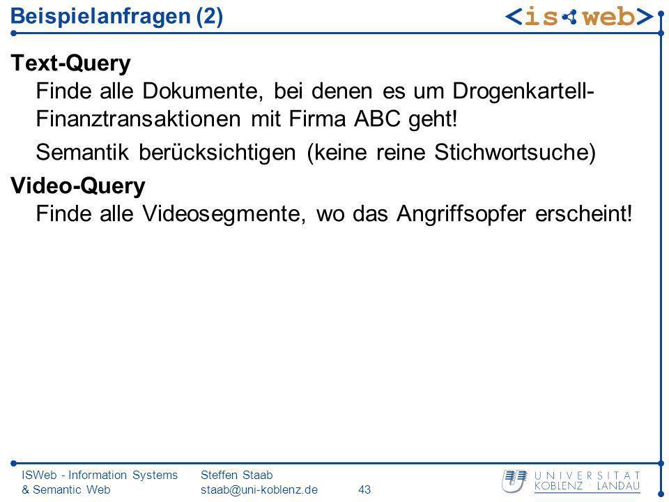 ISWeb - Information Systems & Semantic Web Steffen Staab staab@uni-koblenz.de43 Beispielanfragen (2) Text-Query Finde alle Dokumente, bei denen es um