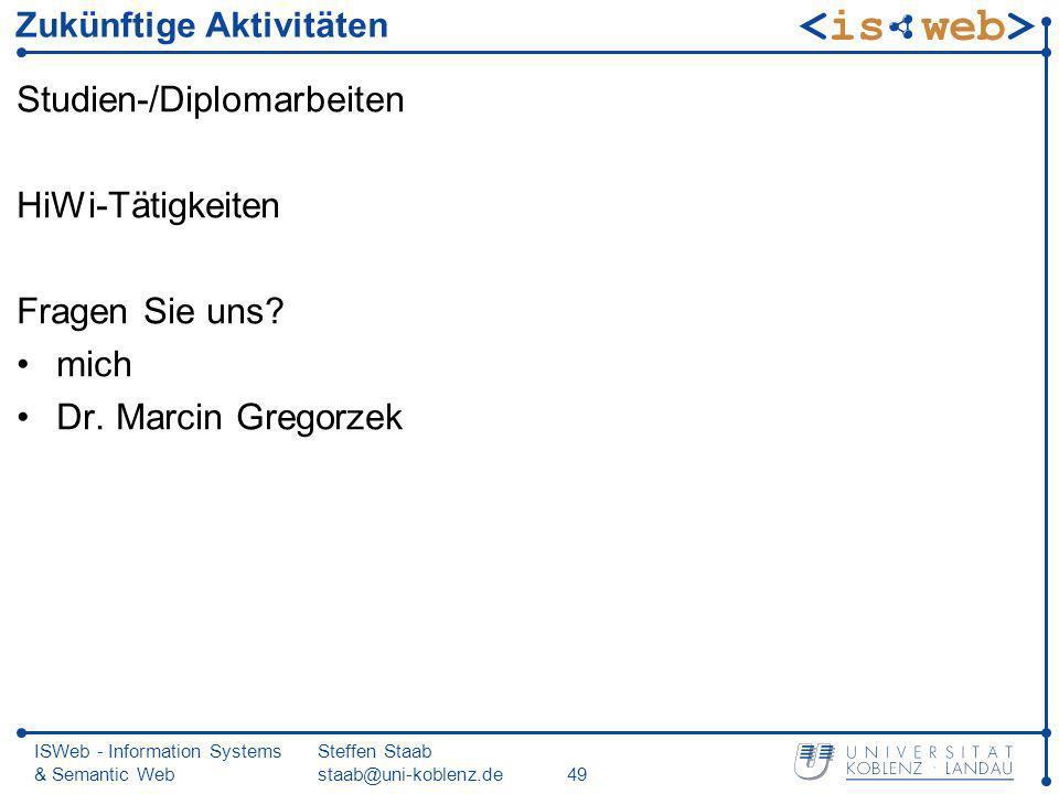 ISWeb - Information Systems & Semantic Web Steffen Staab staab@uni-koblenz.de49 Zukünftige Aktivitäten Studien-/Diplomarbeiten HiWi-Tätigkeiten Fragen