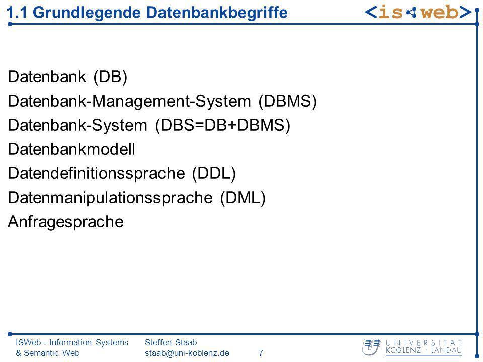 ISWeb - Information Systems & Semantic Web Steffen Staab staab@uni-koblenz.de7 1.1 Grundlegende Datenbankbegriffe Datenbank (DB) Datenbank-Management-