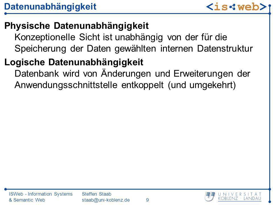 ISWeb - Information Systems & Semantic Web Steffen Staab staab@uni-koblenz.de9 Datenunabhängigkeit Physische Datenunabhängigkeit Konzeptionelle Sicht