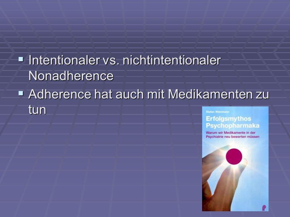 Intentionaler vs. nichtintentionaler Nonadherence Intentionaler vs. nichtintentionaler Nonadherence Adherence hat auch mit Medikamenten zu tun Adheren